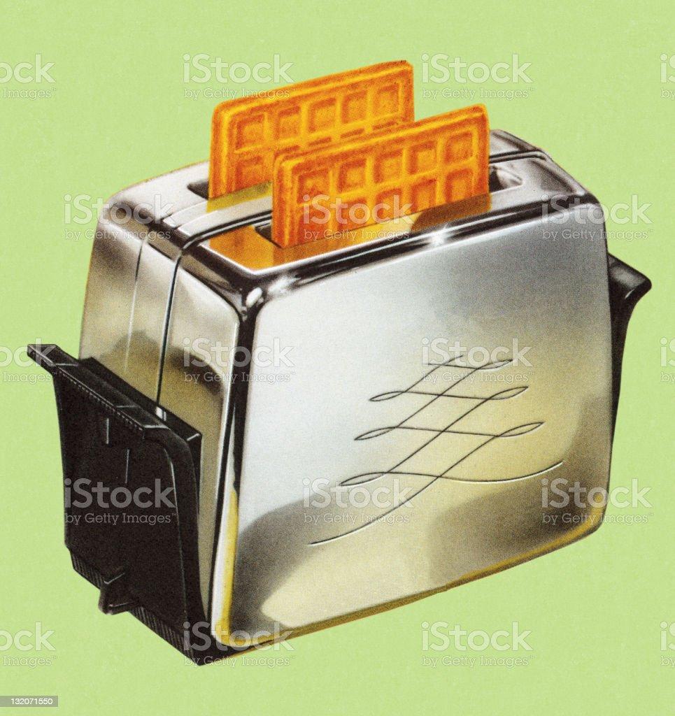 Waffles in Toaster vector art illustration