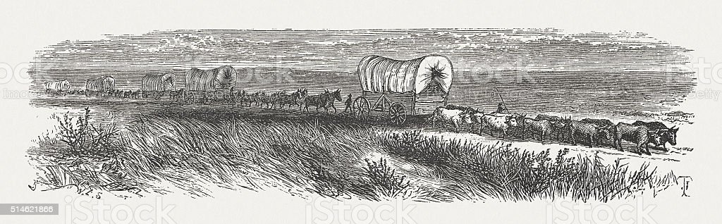 Wagon Train of American Settlers, wood engraving, published in 1880 vector art illustration