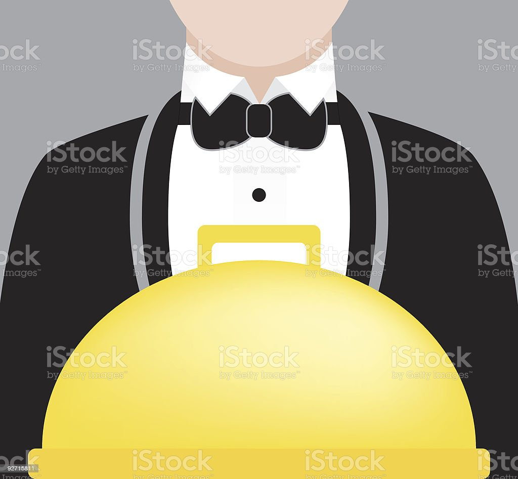 Waiter and Meal vector art illustration