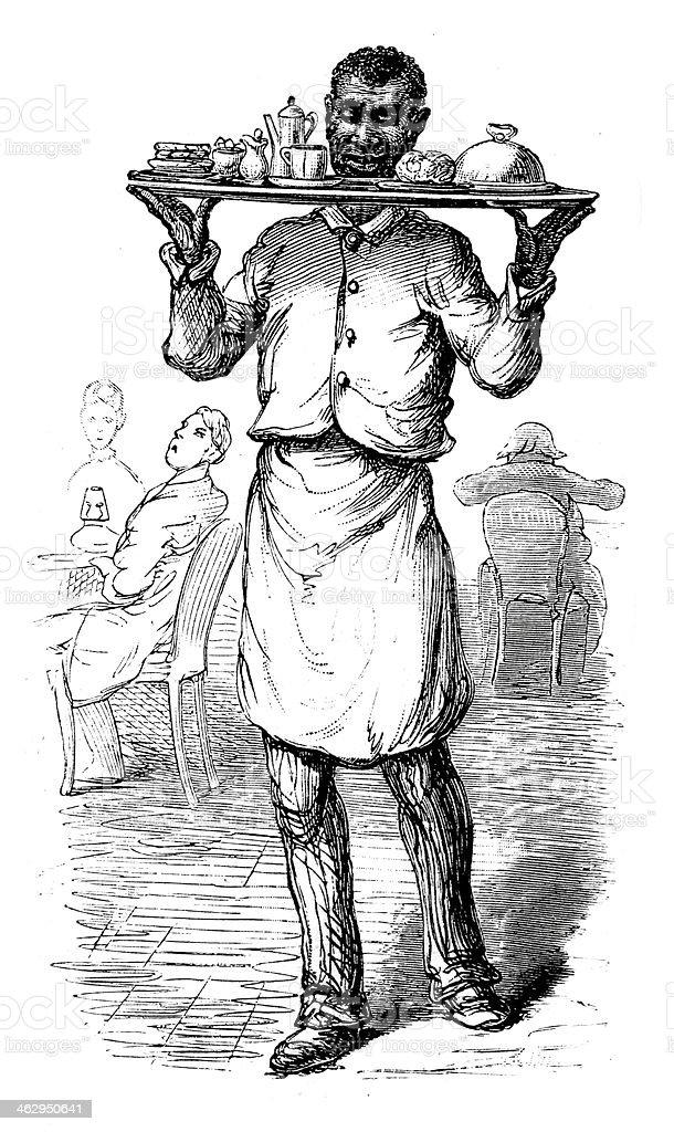 Waiter at Wormley's vector art illustration