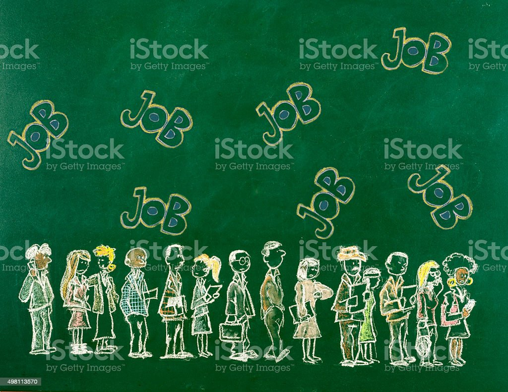 Waiting in Line for Job vector art illustration
