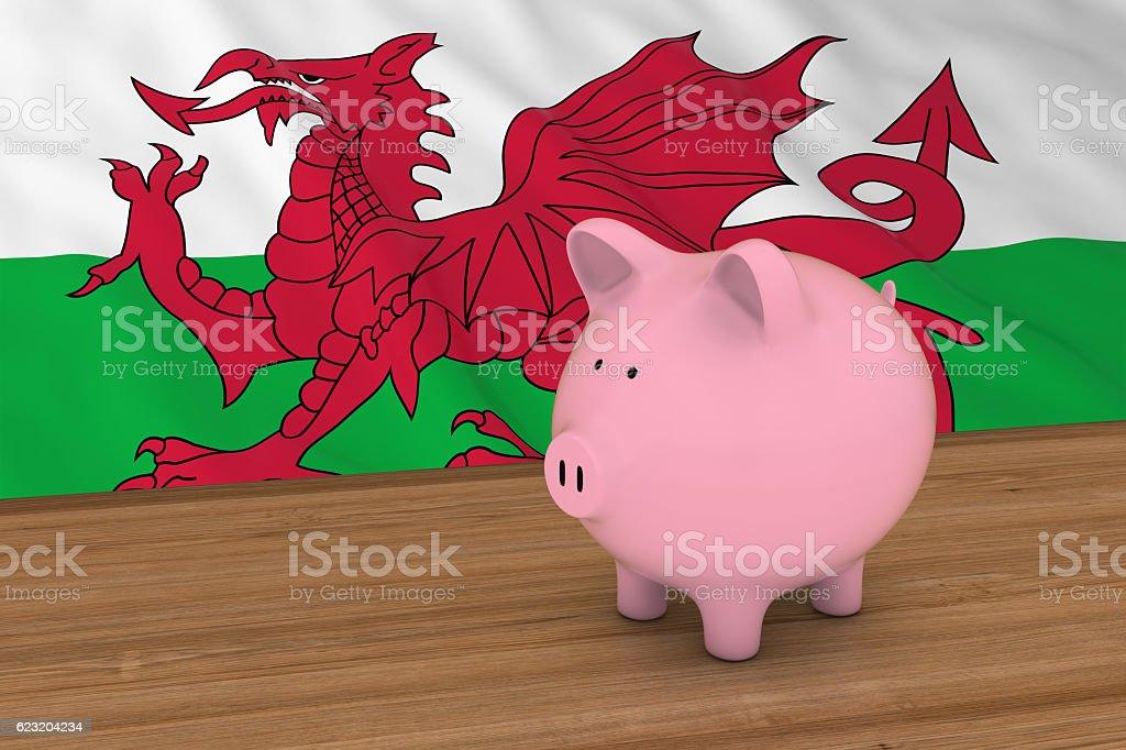 Wales Finance Concept - Piggybank in front of Welsh Flag vector art illustration