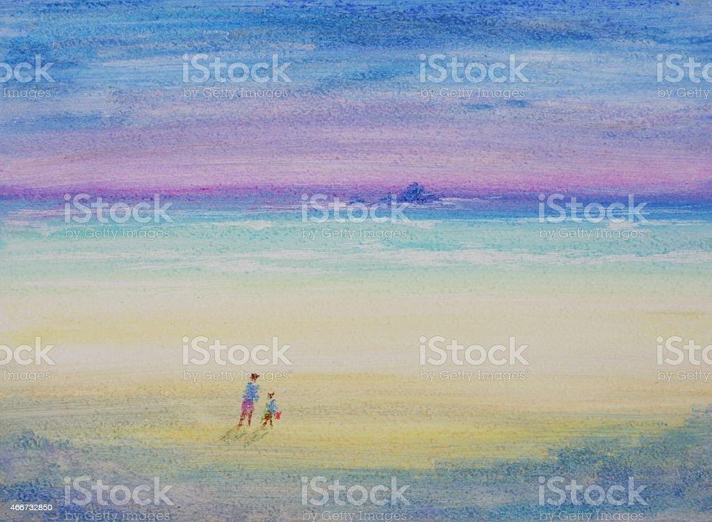 Walk on the Beach vector art illustration
