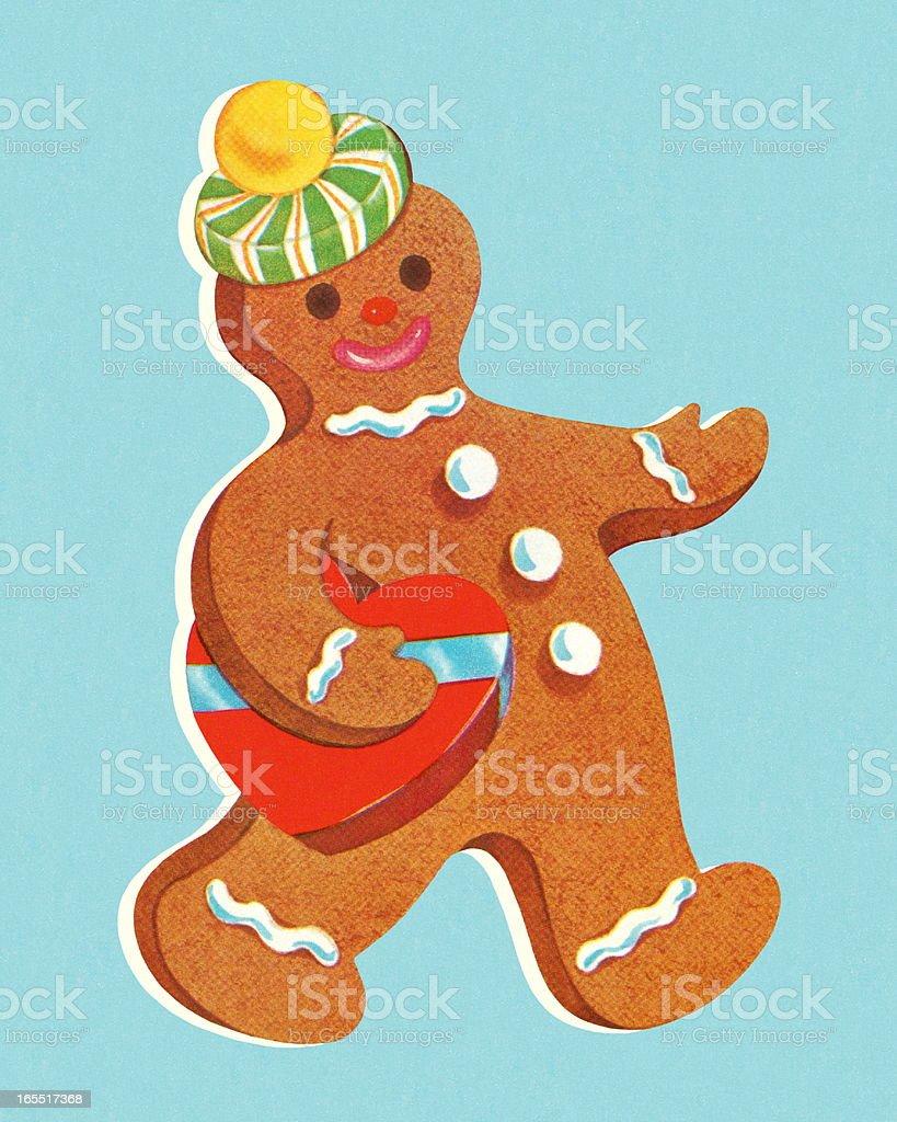 Walking Gingerbread Man royalty-free stock vector art