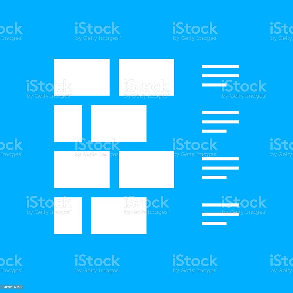 Wall icon on a blue background. vector art illustration