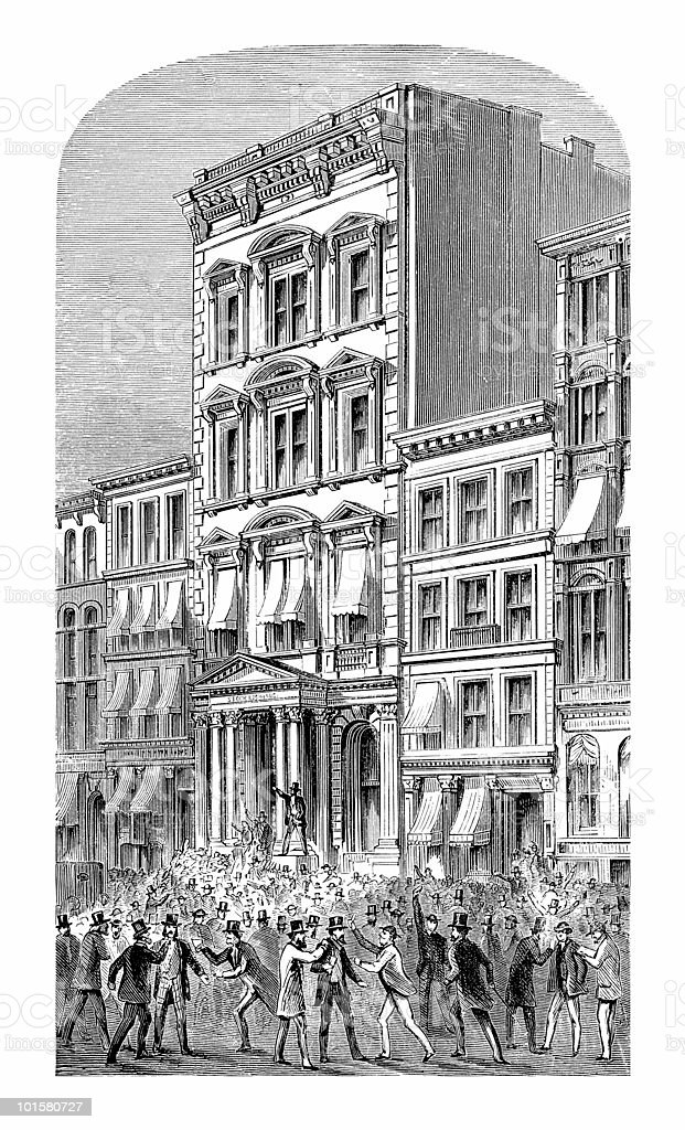 Wall Street Panic, 1873 vector art illustration