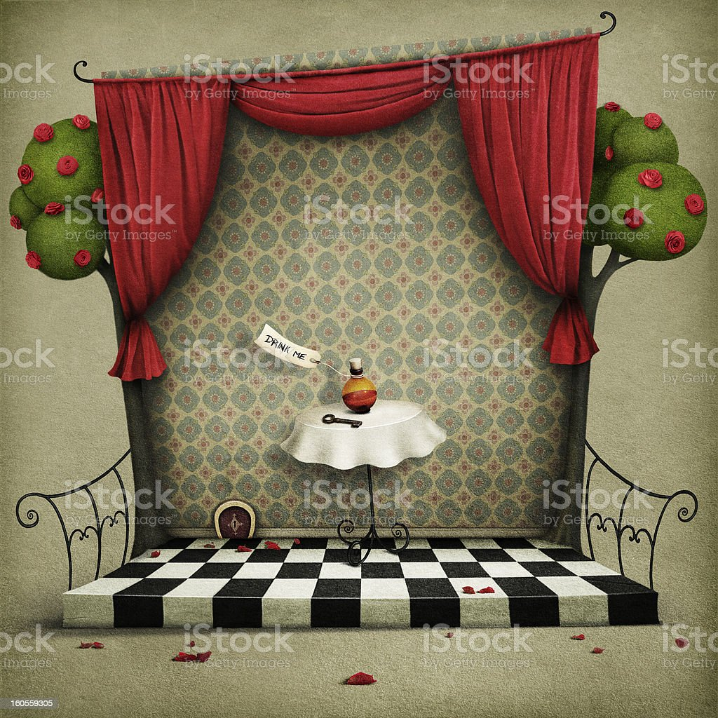 Wall with red curtains and  small door royalty-free stock vector art