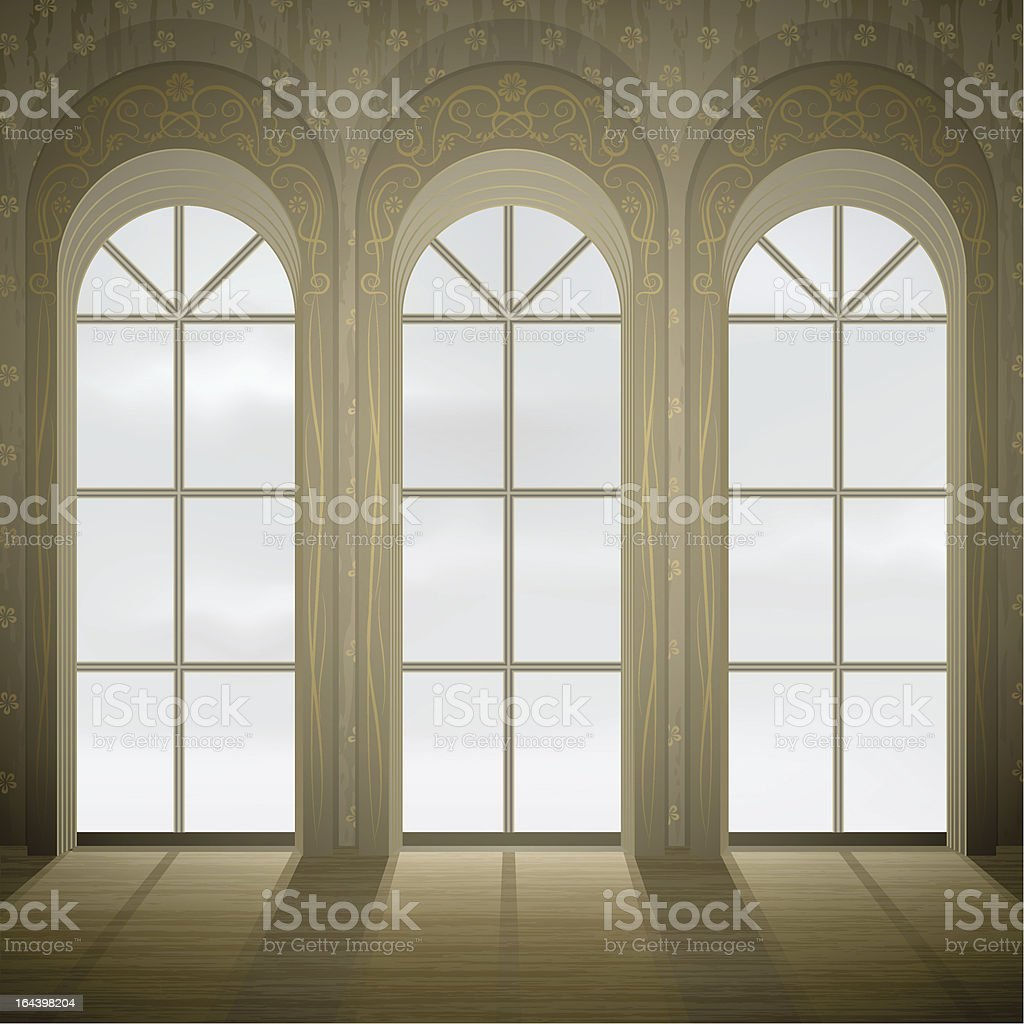 Wall with three tall gothic windows vector art illustration