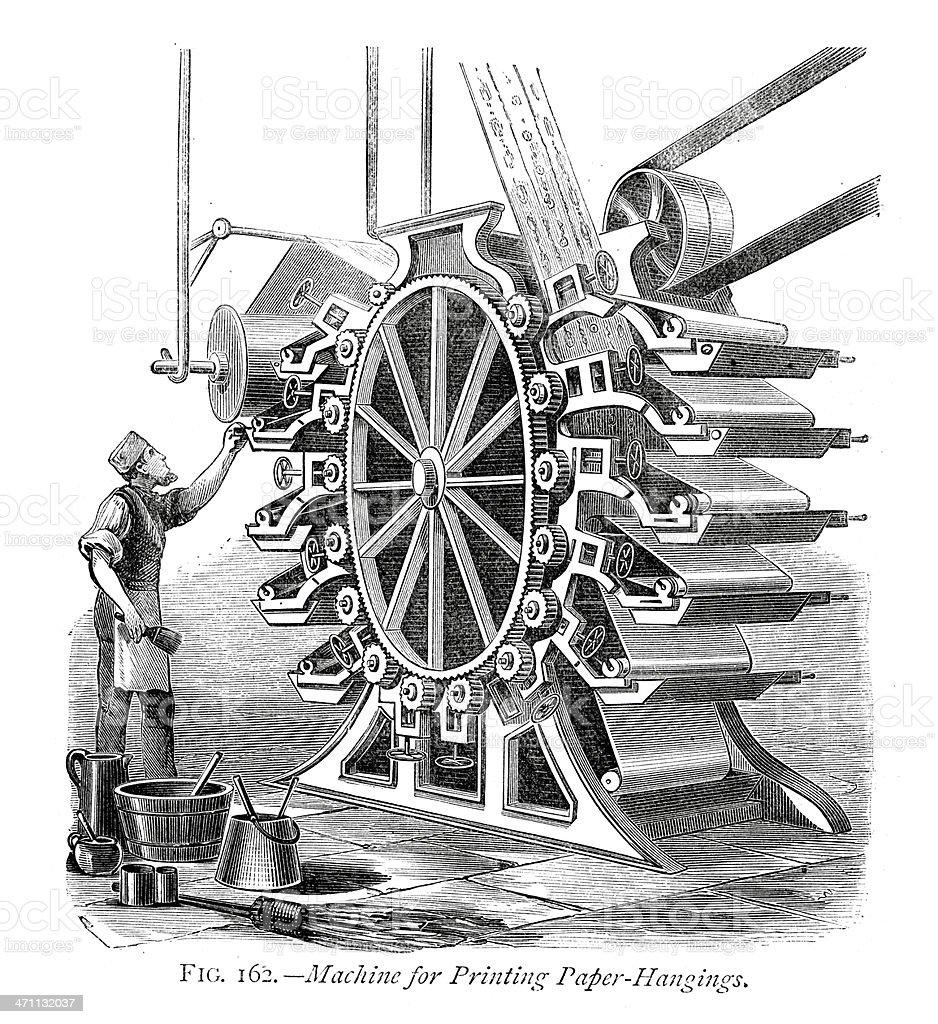 Wallpaper Printing Machine royalty-free stock vector art