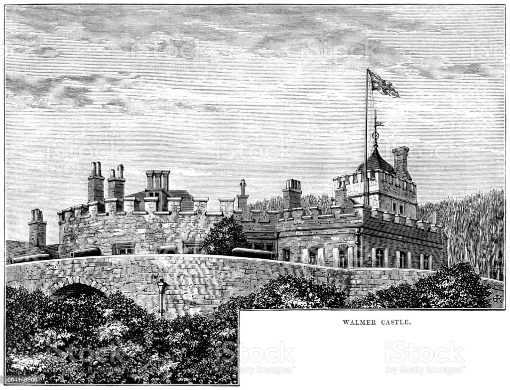 Walmer Castle (Victorian engraving) vector art illustration