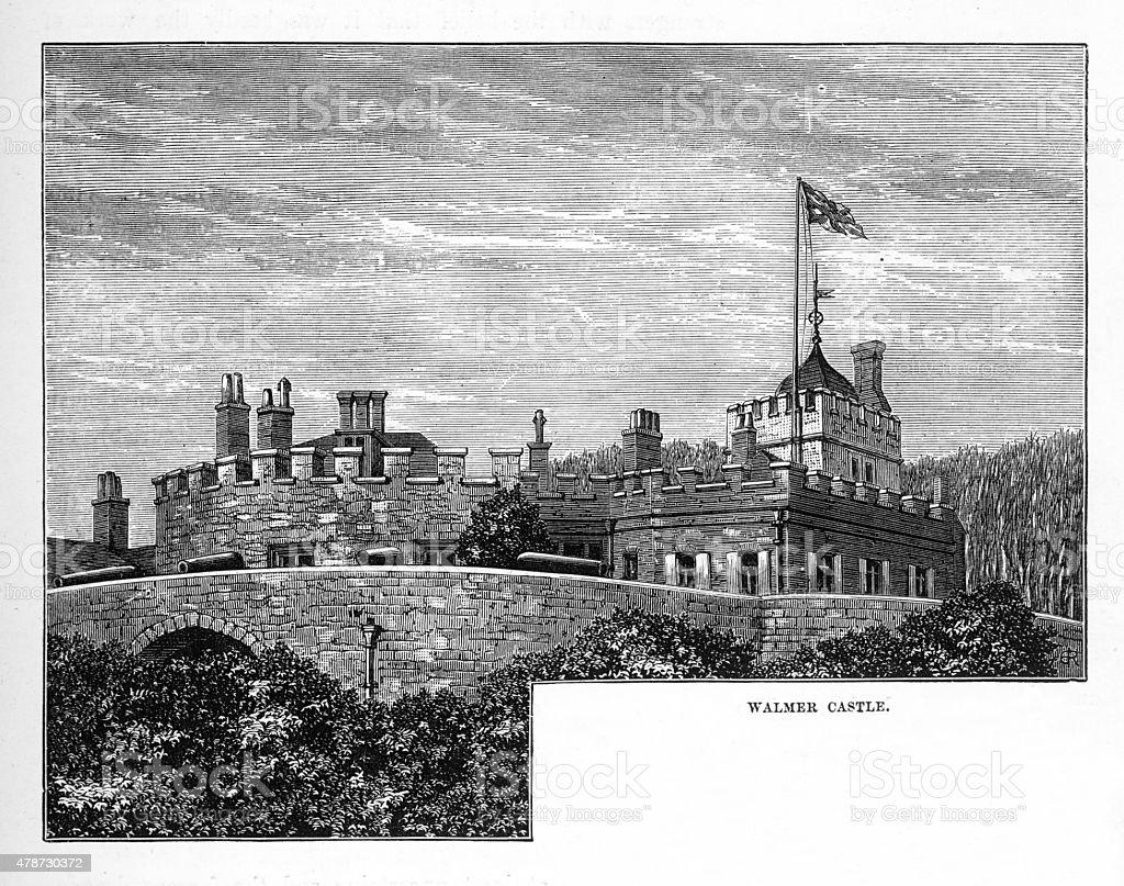 Walmer Castle in Dover, England Victorian Engraving vector art illustration