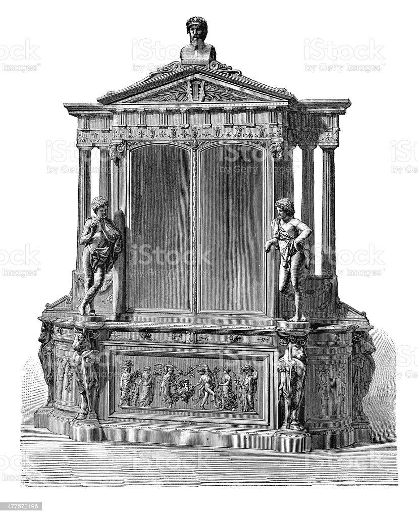 Walnut wood dining-room piece (antique engraving) vector art illustration