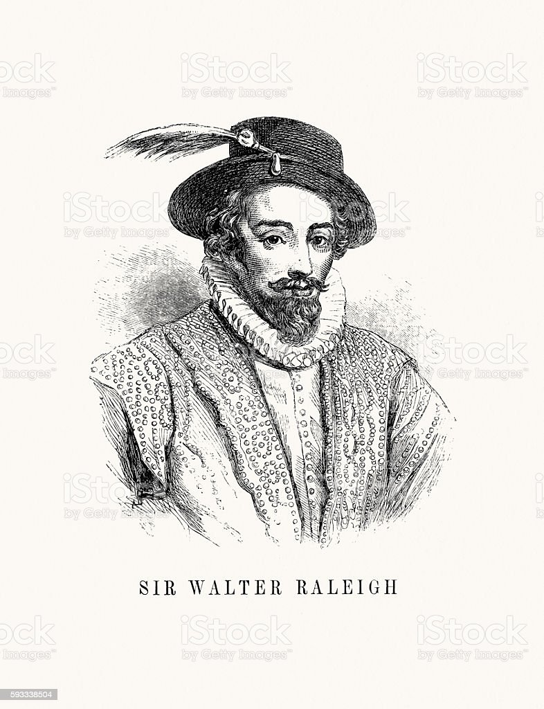 Walter Raleigh, writer, poet, soldier, politician, courtier, spy, explorer. vector art illustration