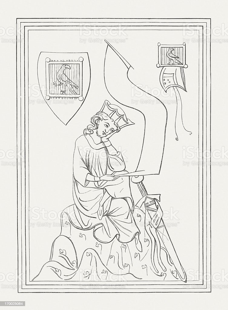 Walther von der Vogelweide (c.1170-c.1230), wood engraving, published in 1879 royalty-free stock vector art