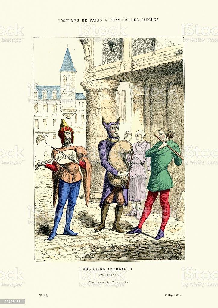 Wandering minstrels 15th Century France vector art illustration
