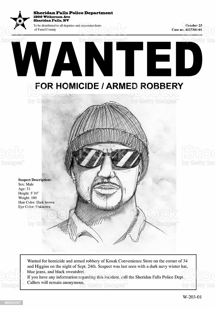 Wanted poster with drawing of a man with hat and sunglasses stock photo