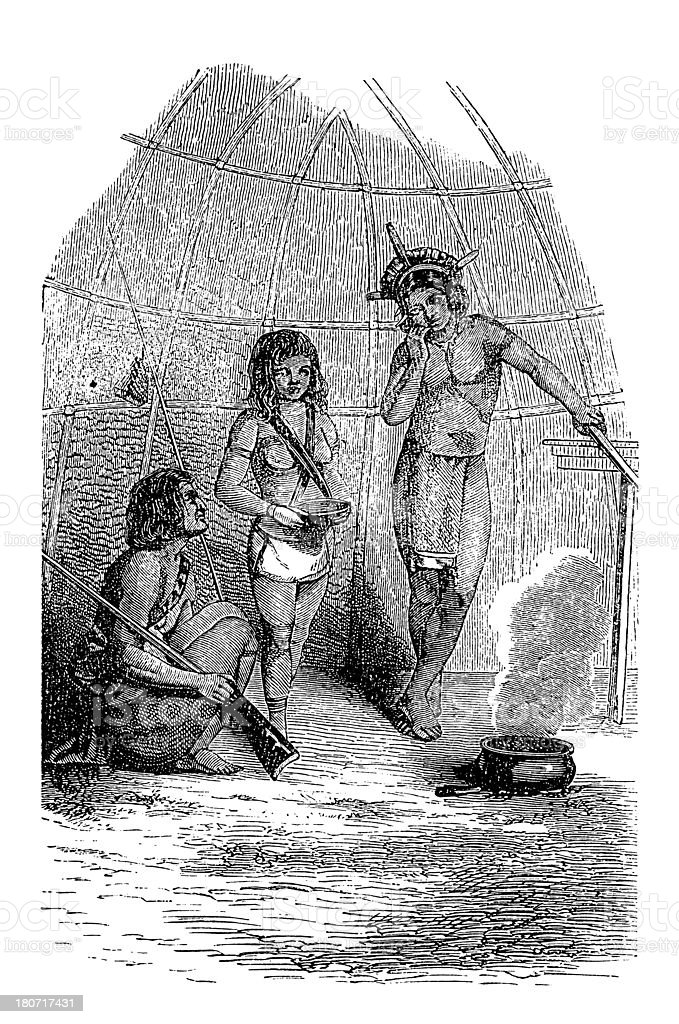 Wapishana people, South America (antique wood engraving) royalty-free stock vector art