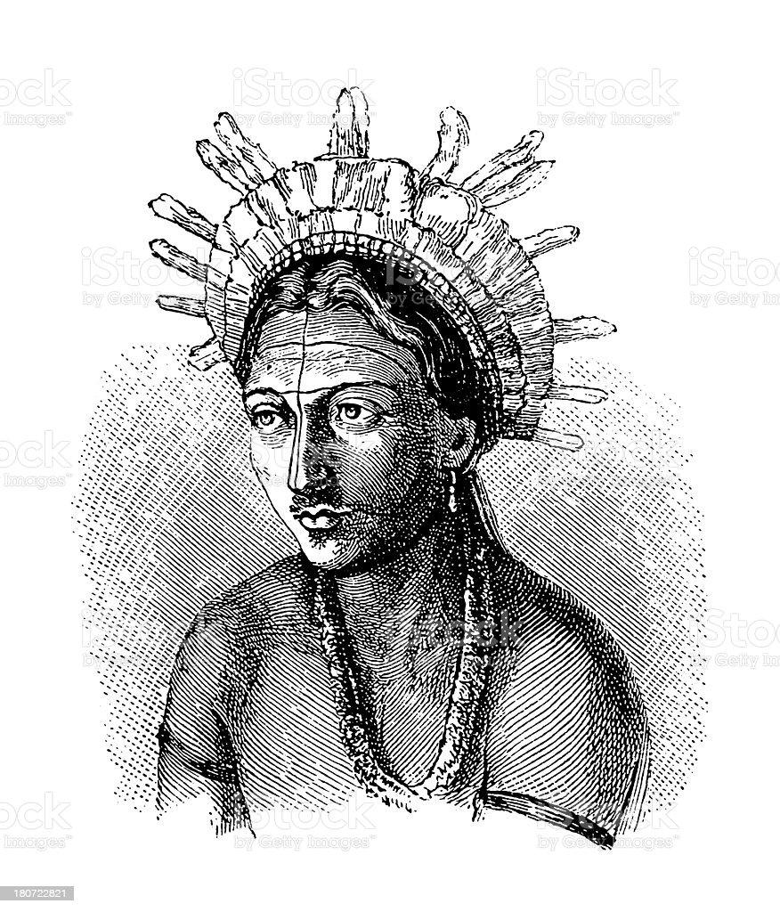 Wapishana tribal chief, South America (antique wood engraving) royalty-free stock vector art