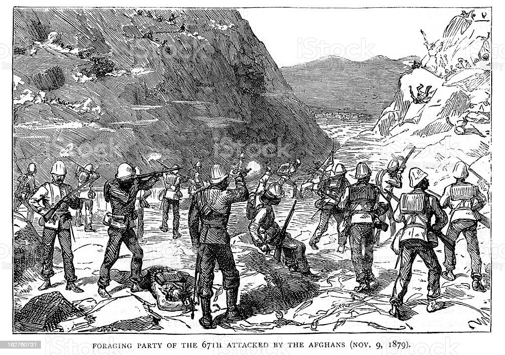 War in Afghanistan - Ambush vector art illustration