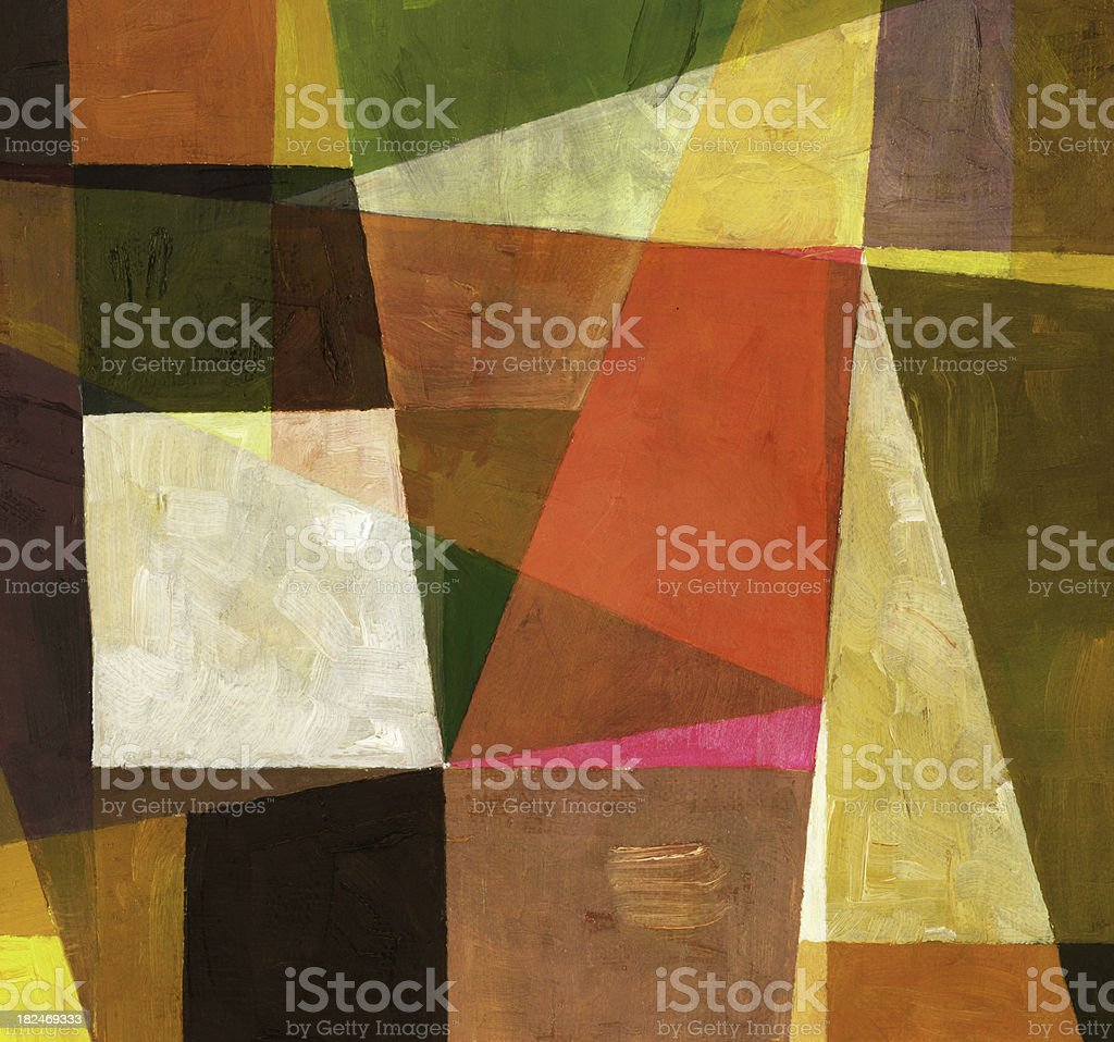 Warm toned geometric abstract painting royalty-free stock vector art