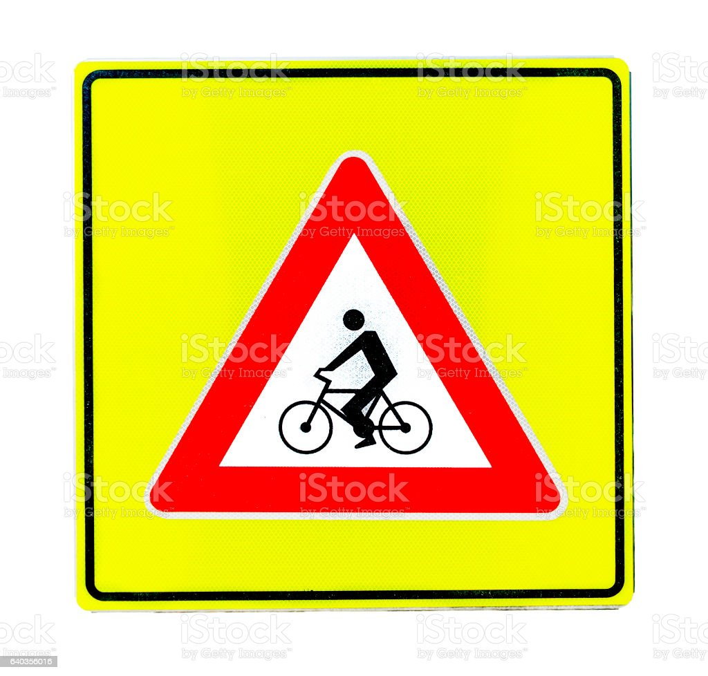 Warning road sign for bicycle isolated on white stock photo