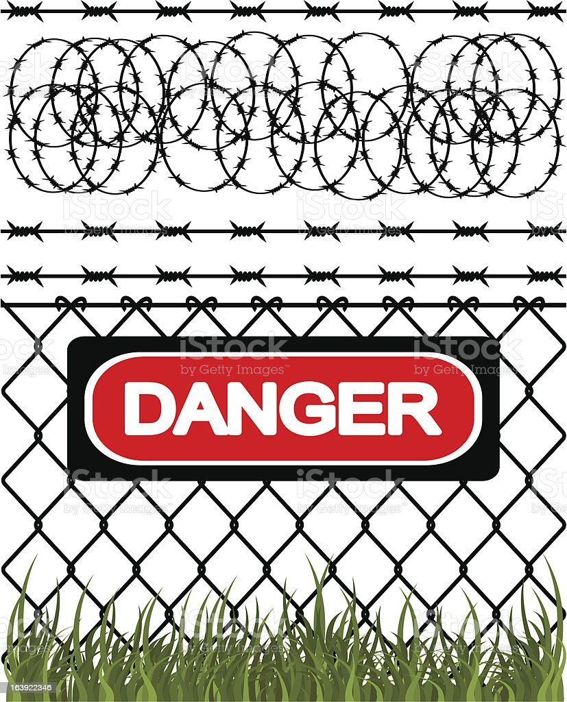 Warning sign on a fence with barbed wire royalty-free stock vector art