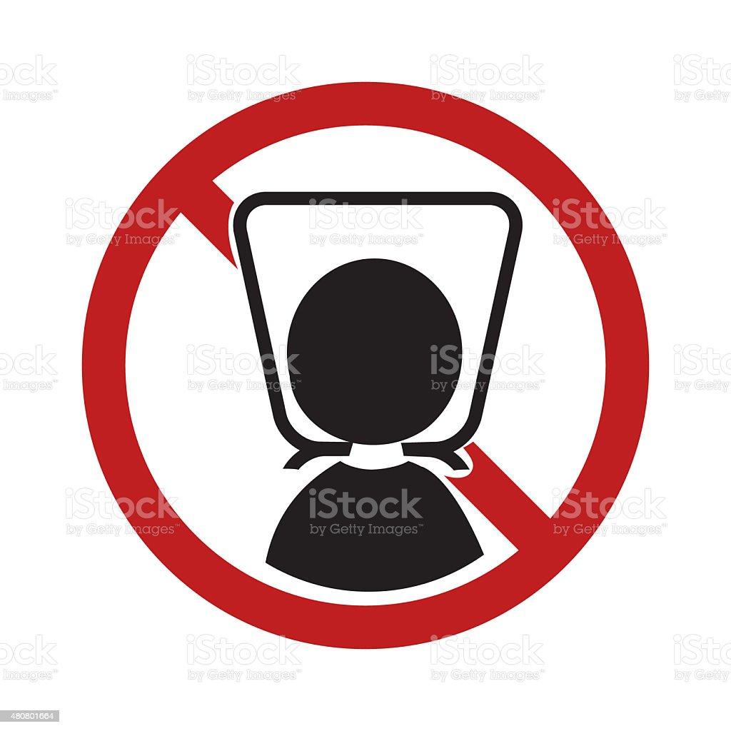 Warning sign with plastic bag vector art illustration