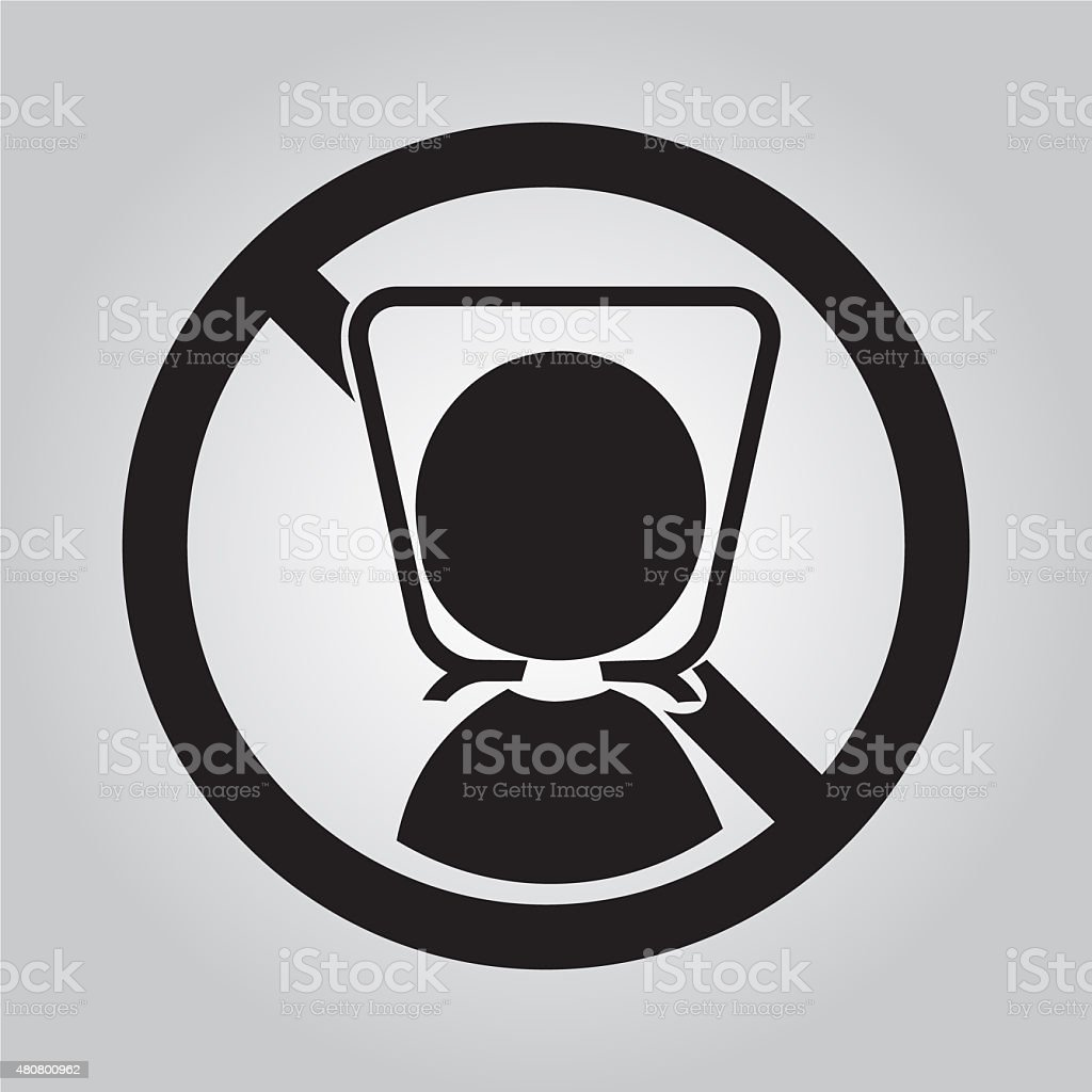 Warning sign with plastic bag illustration vector art illustration