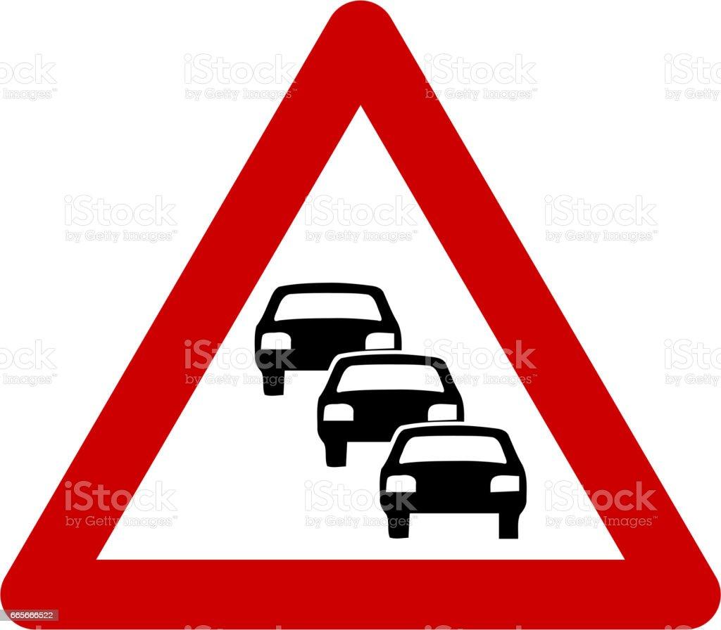 Warning sign with traffic queue vector art illustration