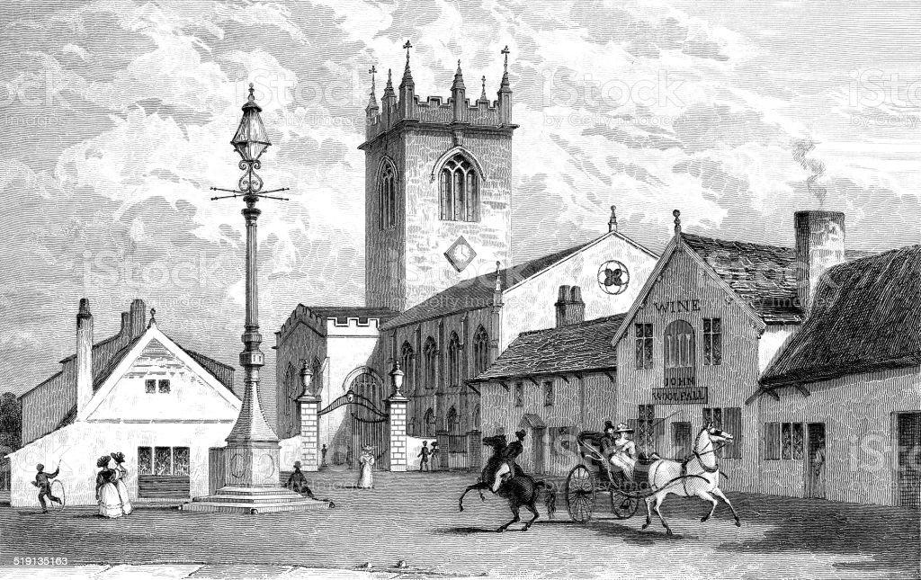 warrington church, lancashire vector art illustration