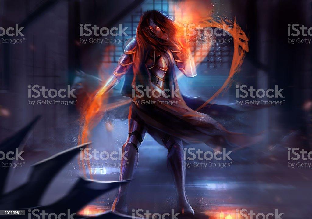 Warrior armored woman. vector art illustration