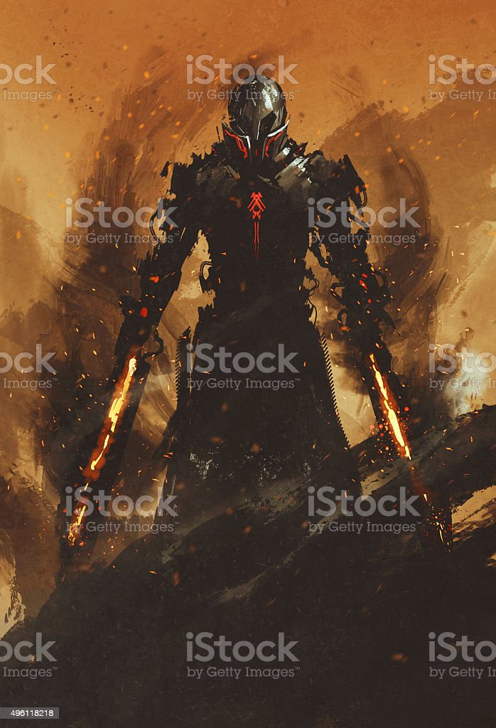 warrior posing with fire flame swords on fire background vector art illustration