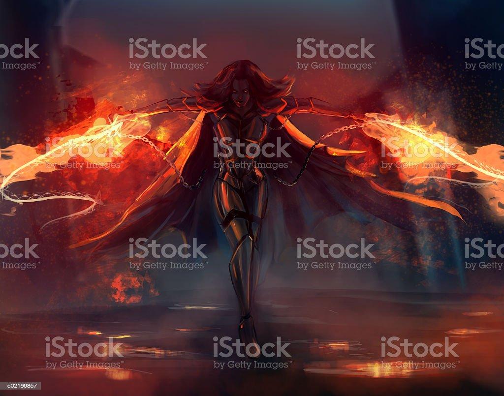 Warrior woman vector art illustration
