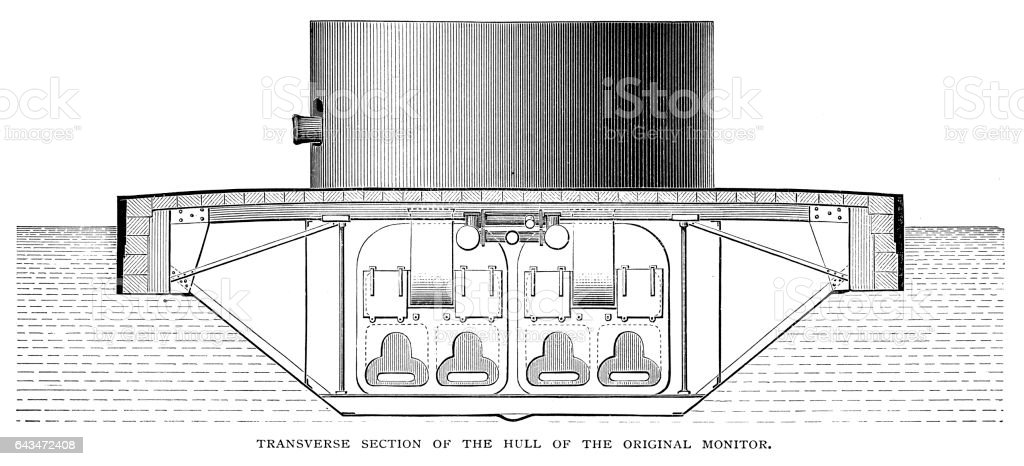 Warship cross section showing boilers and furnace vector art illustration