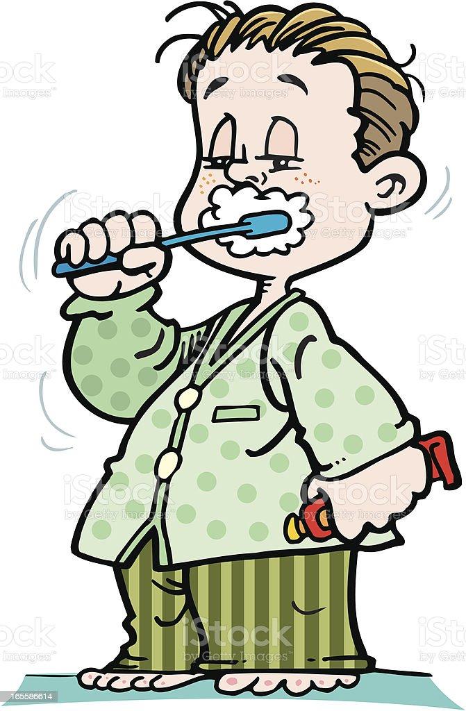 Washing teeth vector art illustration
