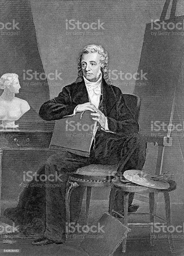 Washington Allston famous American painter and poet vector art illustration