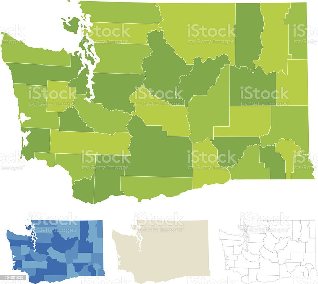 Washington County Map vector art illustration