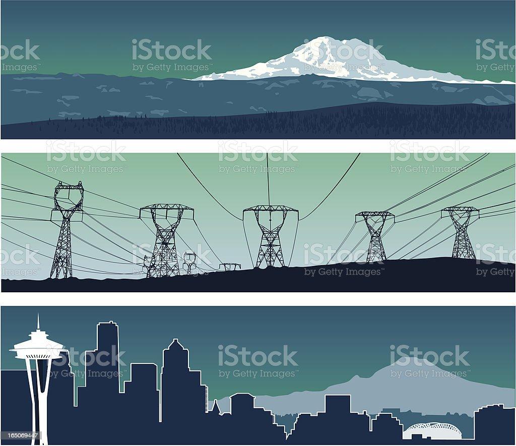 Washington Panoramas royalty-free stock vector art