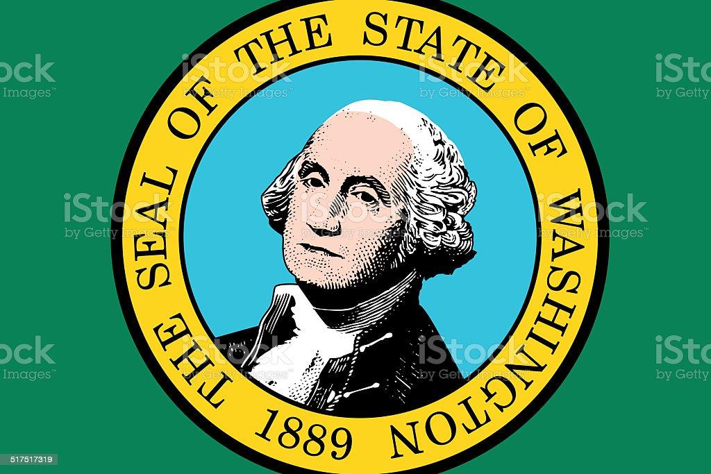 Washington State Flag. Close up. vector art illustration