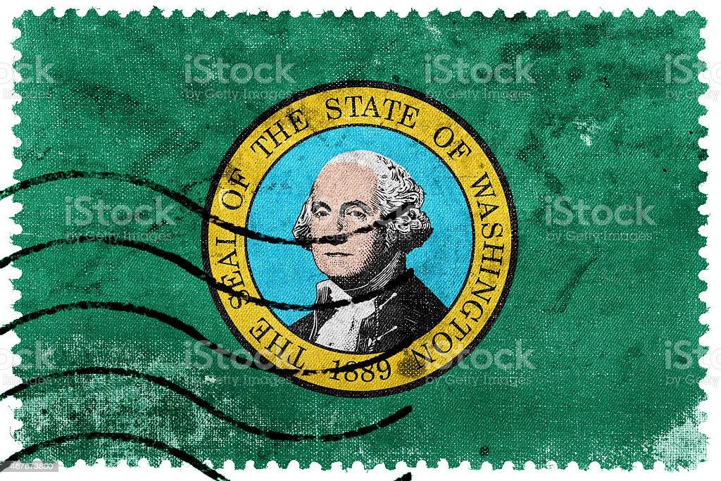 Washington State Flag - old postage stamp vector art illustration