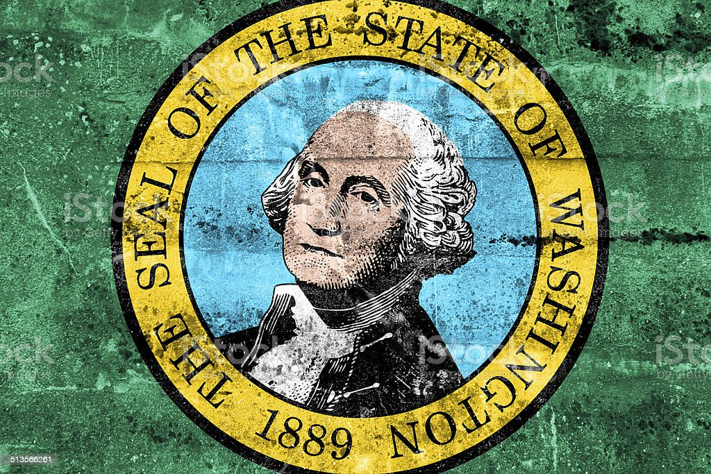 Washington State Flag painted on grunge wall vector art illustration