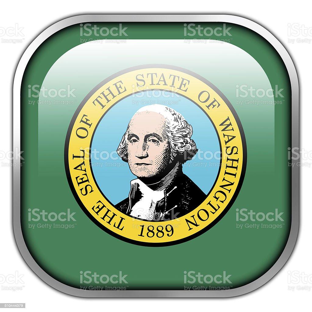 Washington State Flag square glossy button vector art illustration