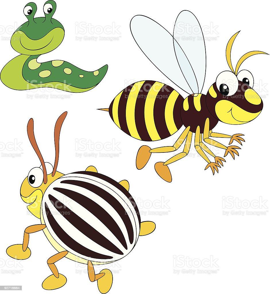 Wasp, potato beetle and slug vector art illustration