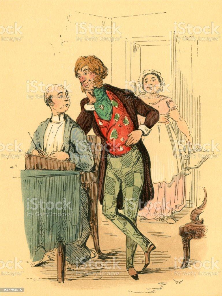 Watching a Victorian man at a writing desk vector art illustration