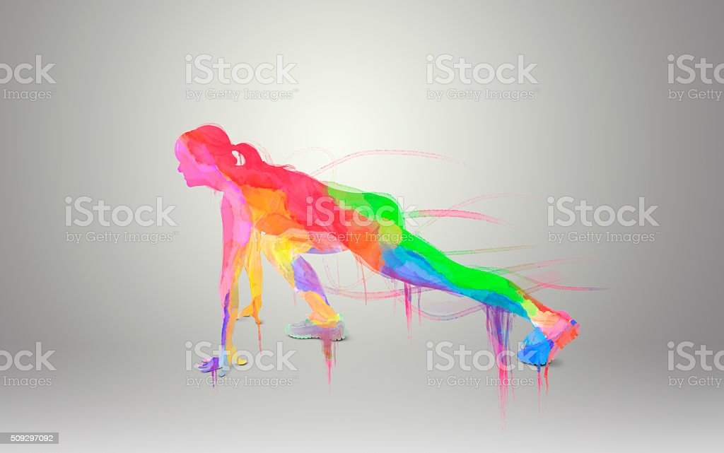 Water color runner silhouette vector art illustration