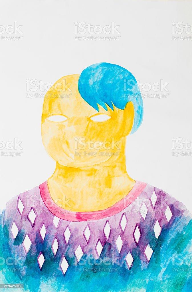 water colour human body painting - illustration vector art illustration