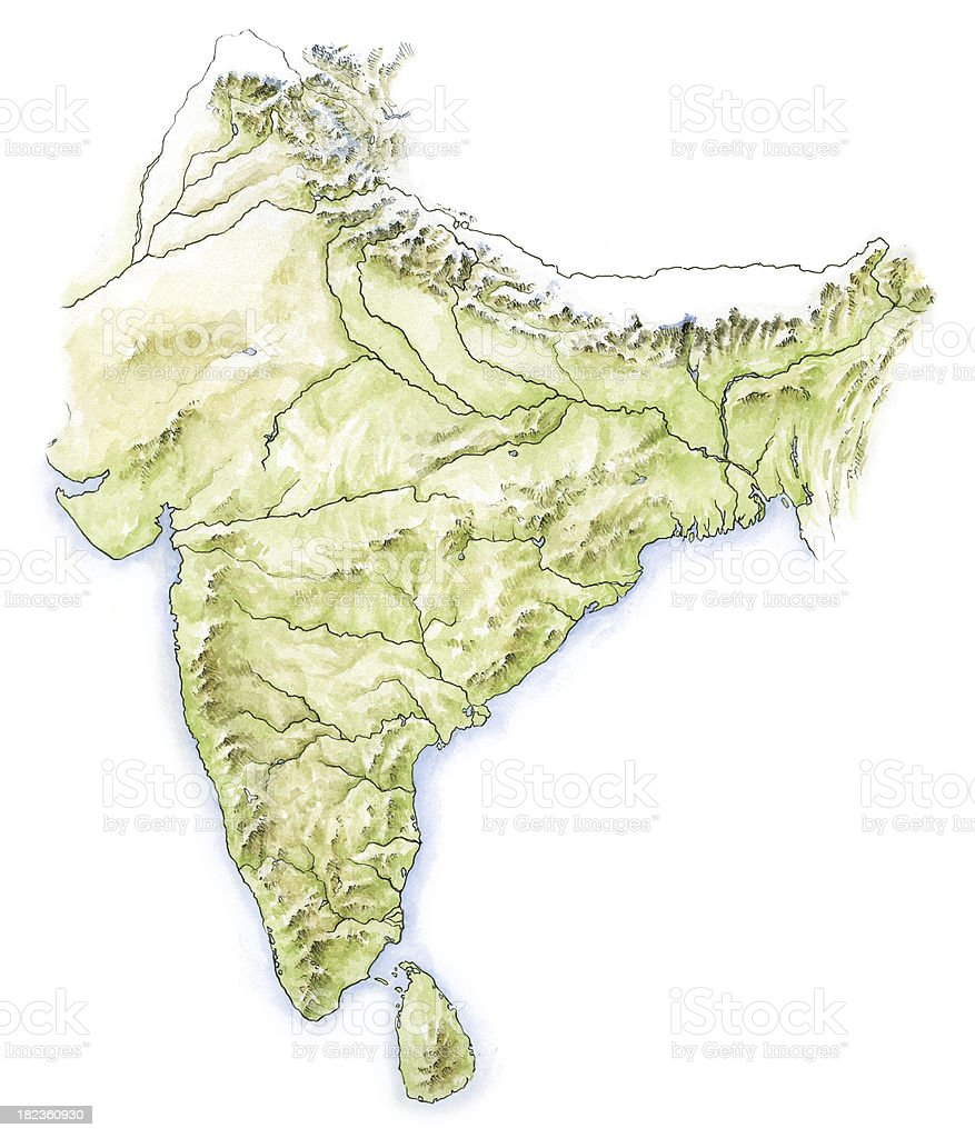 Water colour map of India vector art illustration