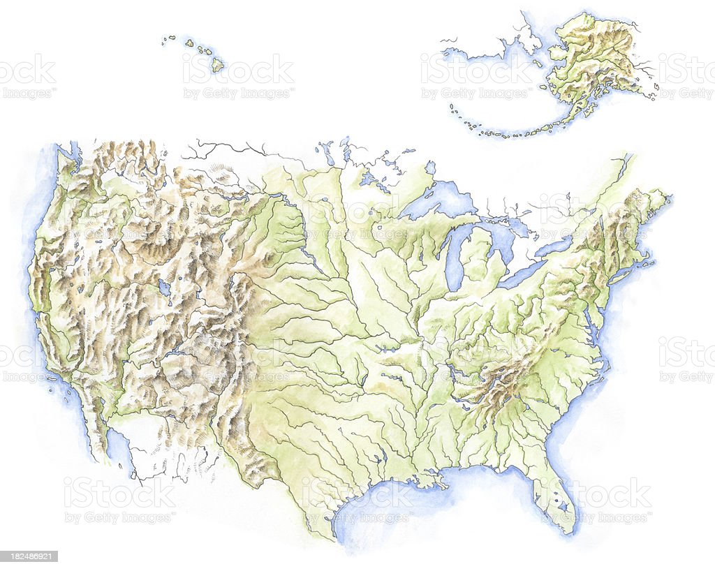 Water colour map of North America vector art illustration