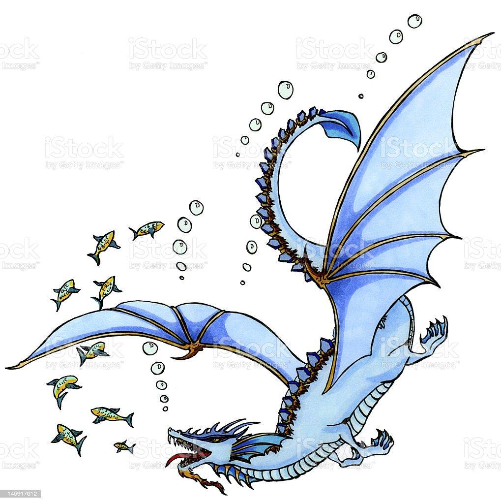 Water dragon chasing fish vector art illustration