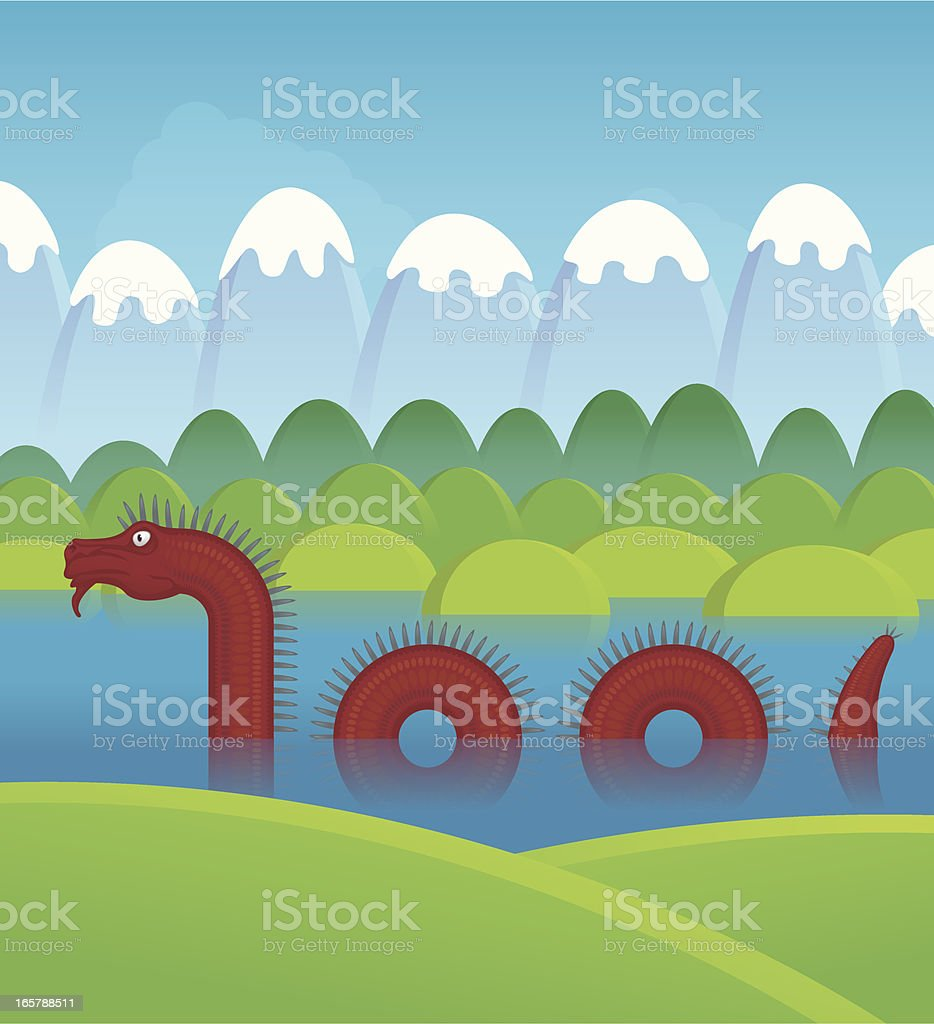 Water dragon vector art illustration
